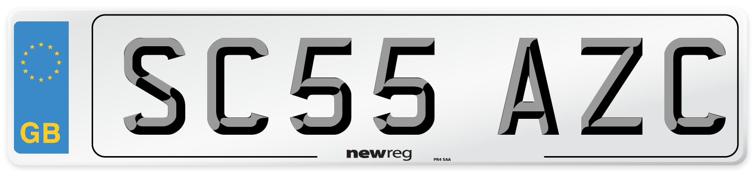 SC55 AZC Number Plate from New Reg