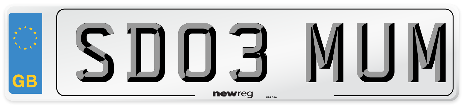 SD03 MUM Number Plate from New Reg