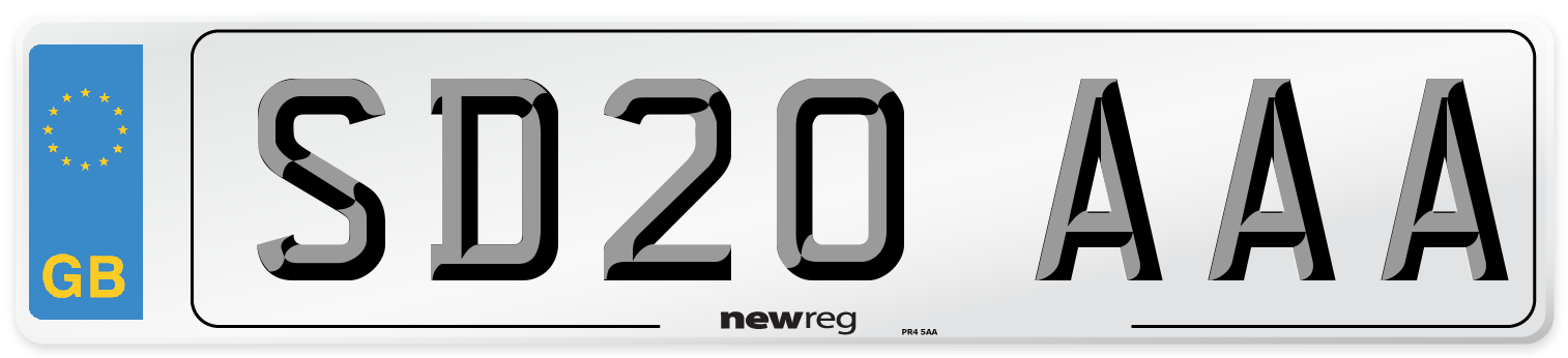 SD20 AAA Number Plate from New Reg
