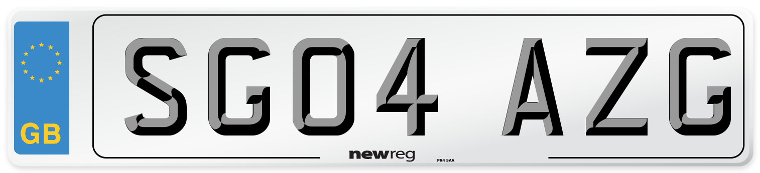 SG04 AZG Number Plate from New Reg