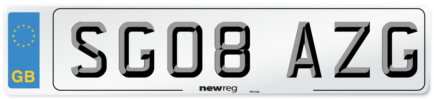 SG08 AZG Number Plate from New Reg