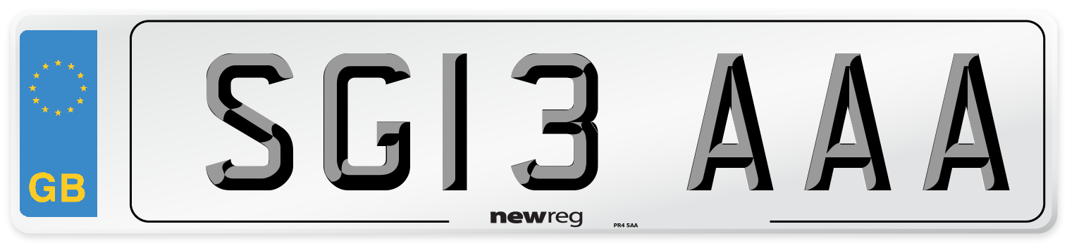 SG13 AAA Number Plate from New Reg