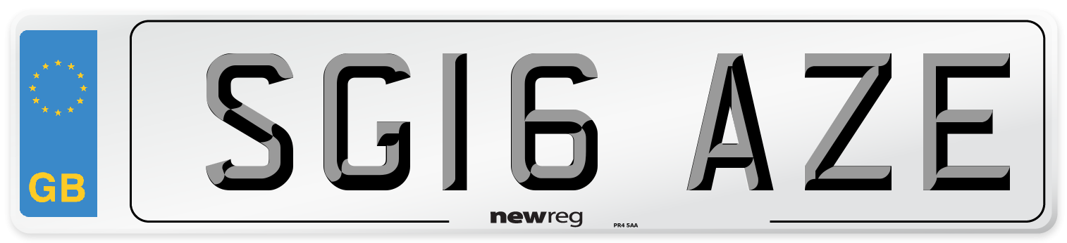 SG16 AZE Number Plate from New Reg