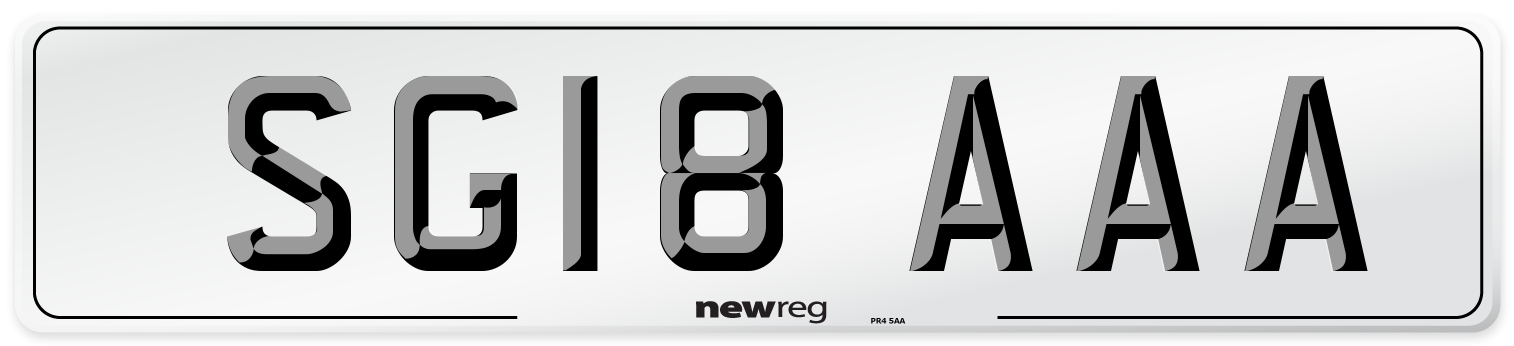 SG18 AAA Number Plate from New Reg
