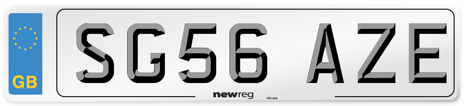 SG56 AZE Number Plate from New Reg