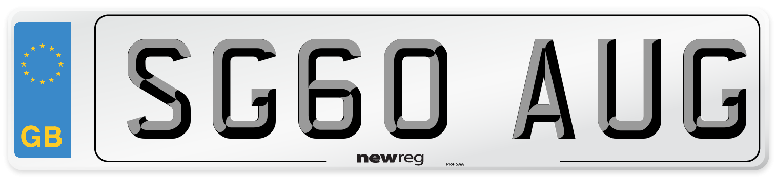 SG60 AUG Number Plate from New Reg