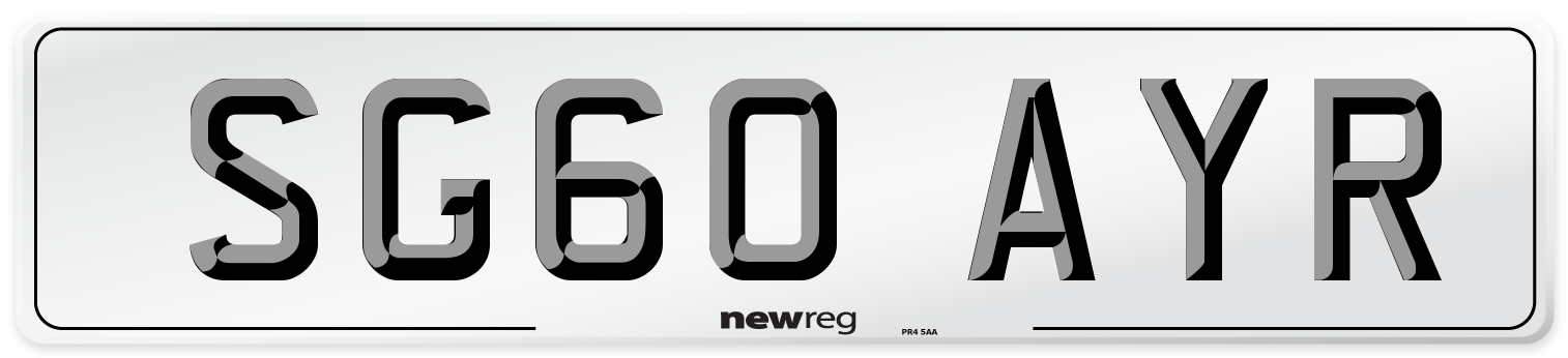 SG60 AYR Number Plate from New Reg