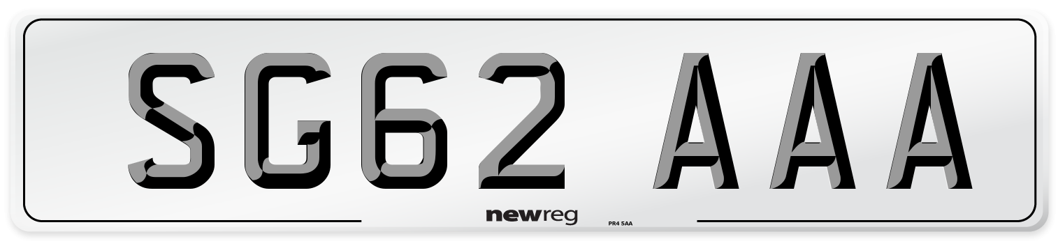 SG62 AAA Number Plate from New Reg