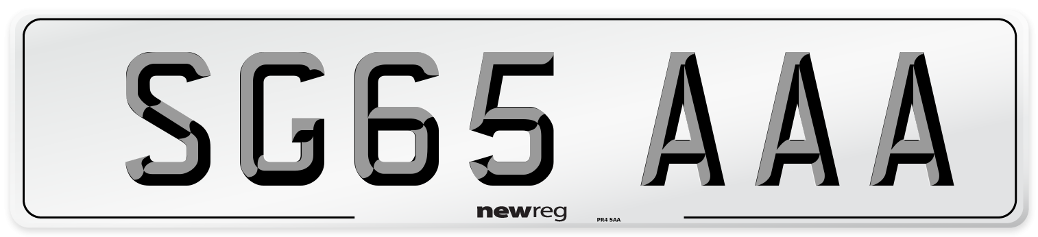 SG65 AAA Number Plate from New Reg