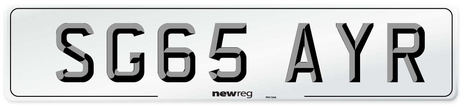 SG65 AYR Number Plate from New Reg