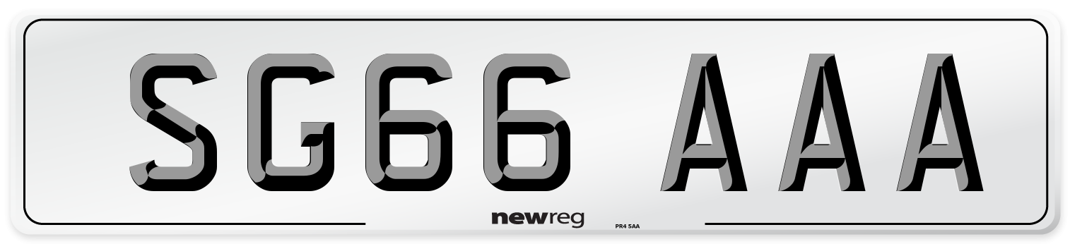 SG66 AAA Number Plate from New Reg