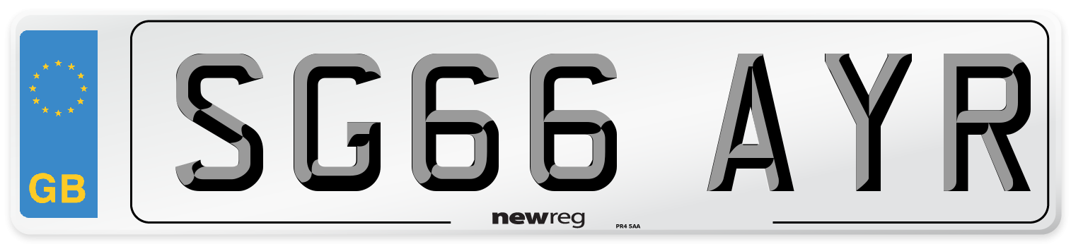 SG66 AYR Number Plate from New Reg