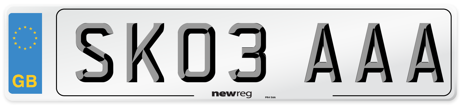 SK03 AAA Number Plate from New Reg