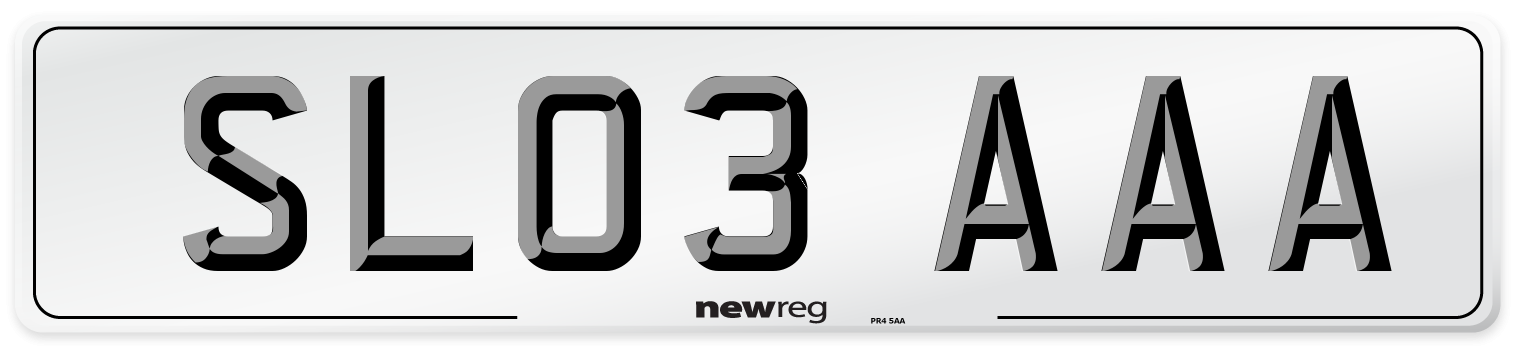SL03 AAA Number Plate from New Reg