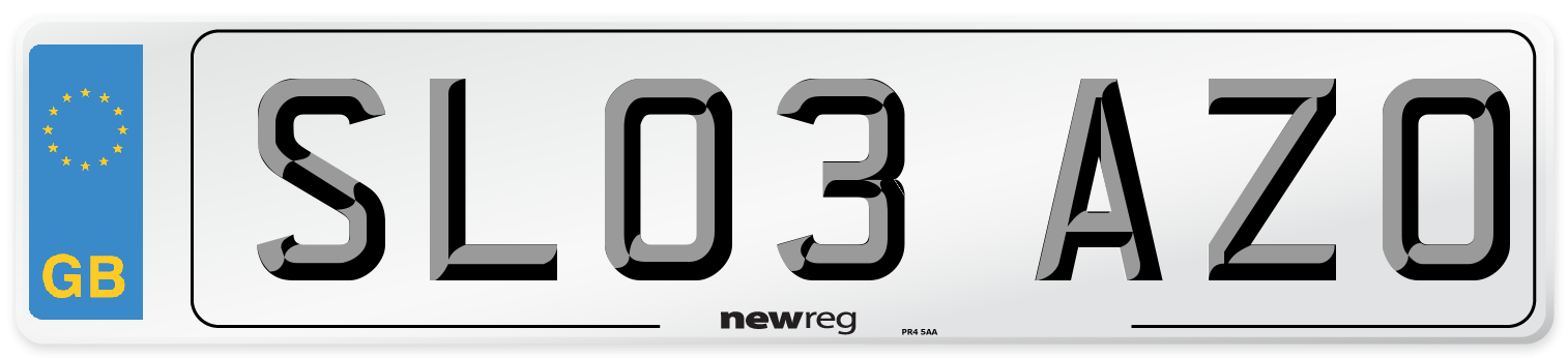 SL03 AZO Number Plate from New Reg
