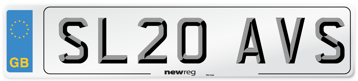 SL20 AVS Number Plate from New Reg