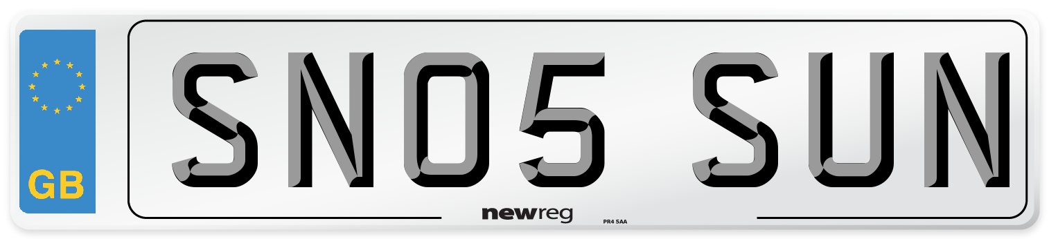 SN05 SUN Number Plate from New Reg