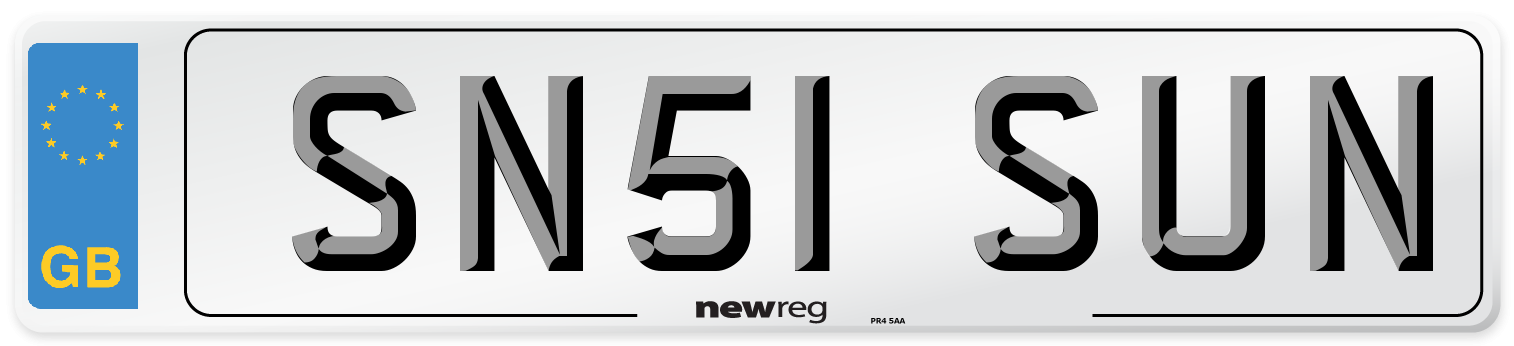 SN51 SUN Number Plate from New Reg
