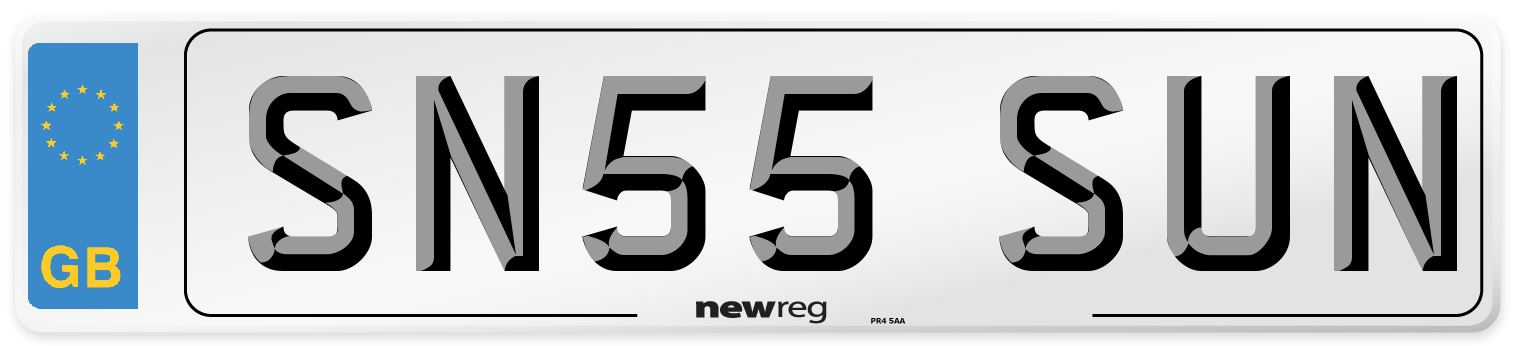 SN55 SUN Number Plate from New Reg