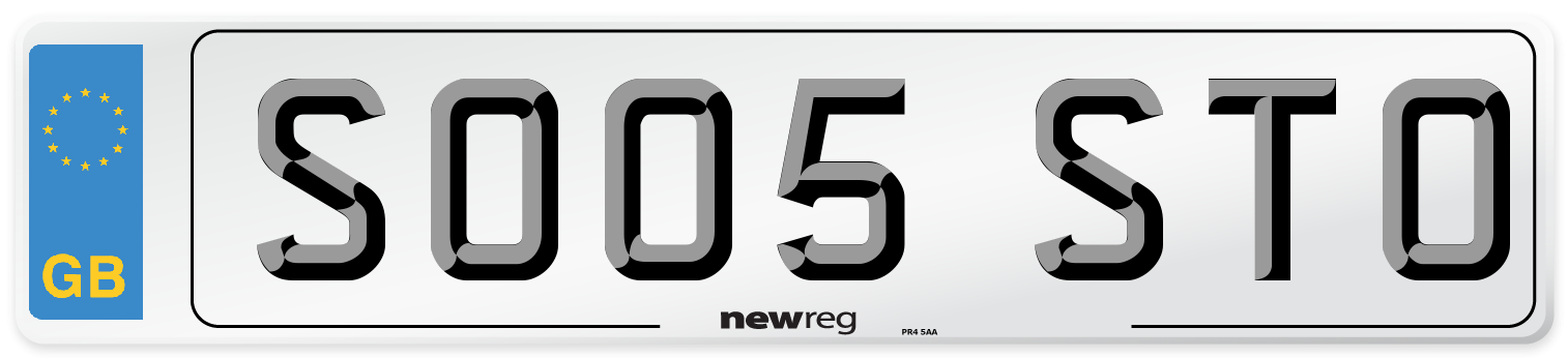 SO05 STO Number Plate from New Reg