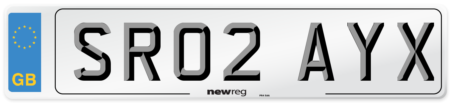 SR02 AYX Number Plate from New Reg