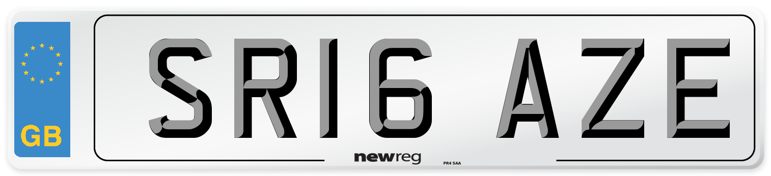 SR16 AZE Number Plate from New Reg