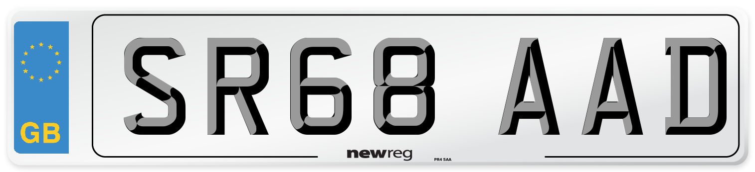 SR68 AAD Number Plate from New Reg