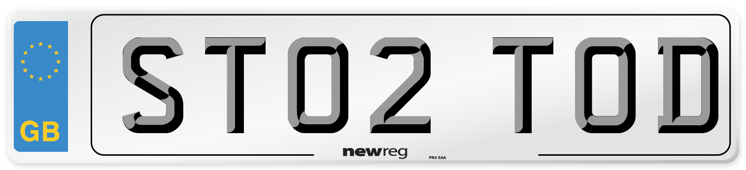 ST02 TOD Number Plate from New Reg