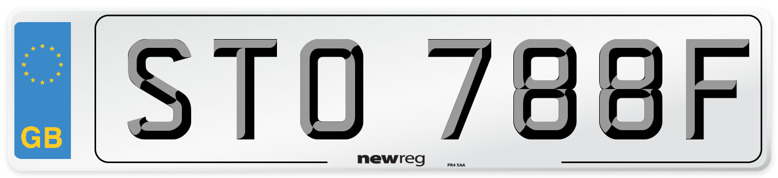 STO 788F Number Plate from New Reg