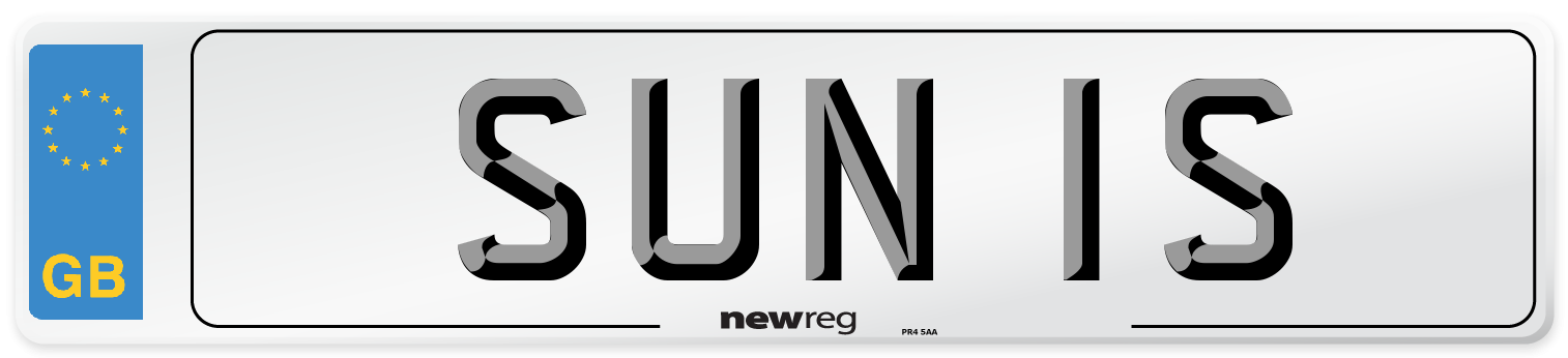 SUN 1S Number Plate from New Reg