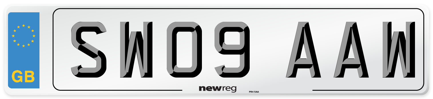 SW09 AAW Number Plate from New Reg
