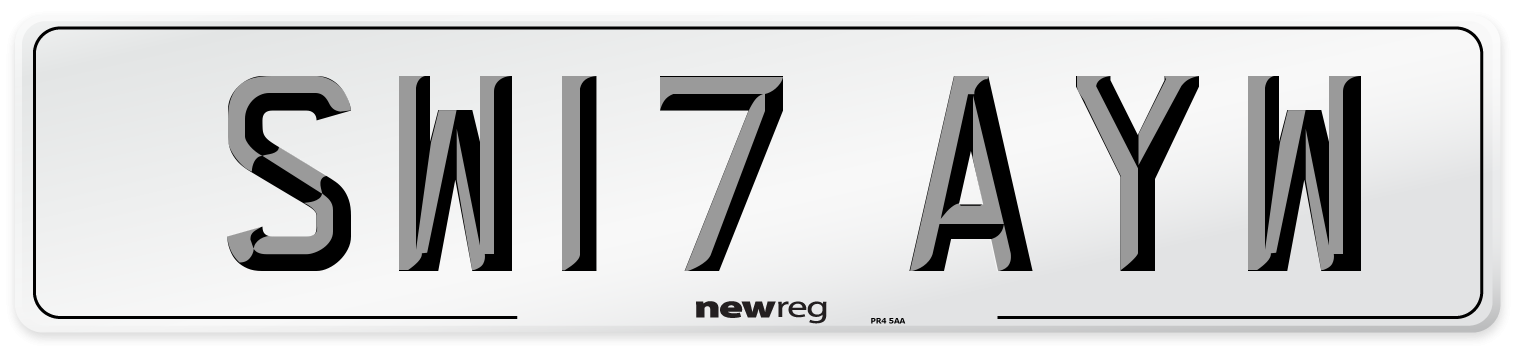 SW17 AYW Number Plate from New Reg