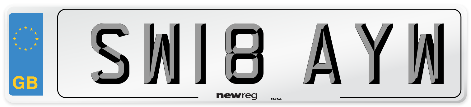SW18 AYW Number Plate from New Reg