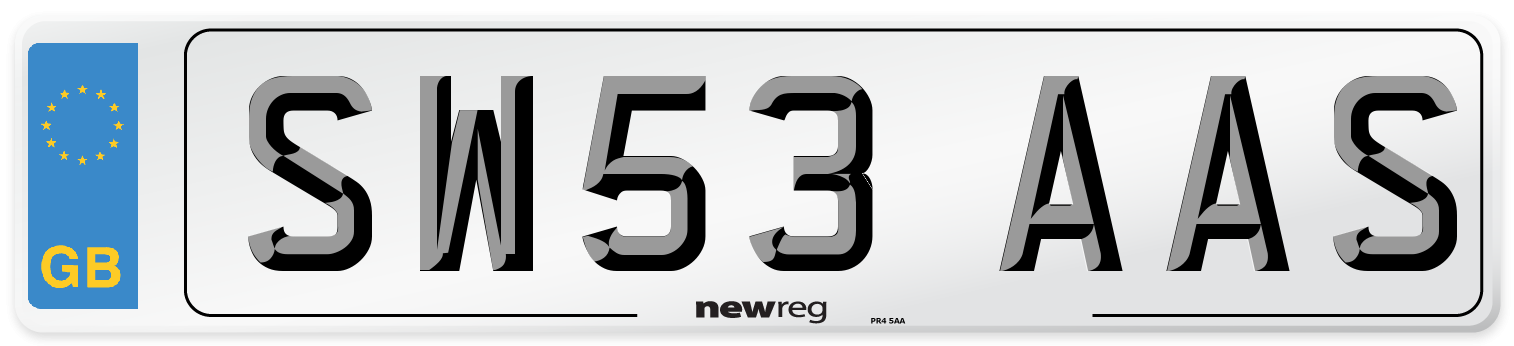 SW53 AAS Number Plate from New Reg