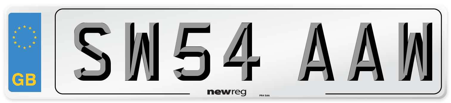 SW54 AAW Number Plate from New Reg