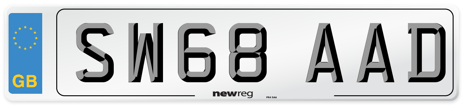 SW68 AAD Number Plate from New Reg