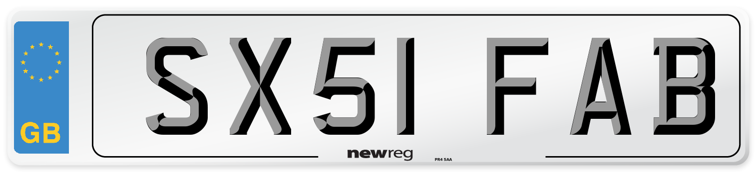 SX51 FAB Number Plate from New Reg