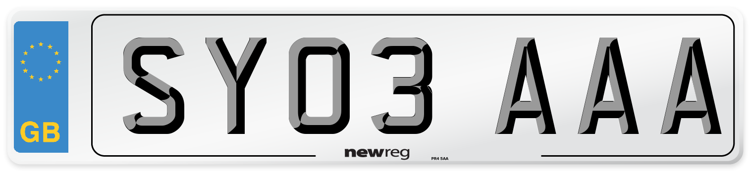 SY03 AAA Number Plate from New Reg