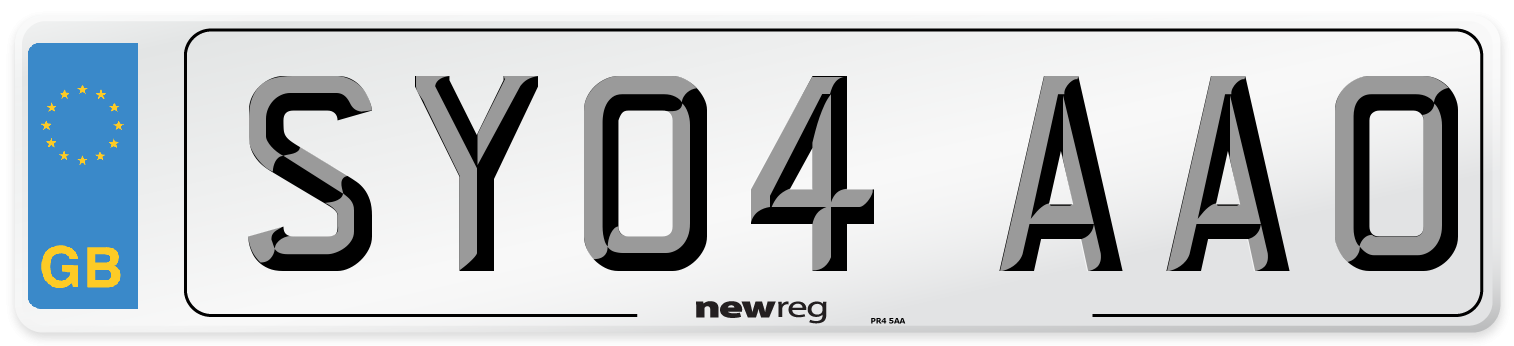 SY04 AAO Number Plate from New Reg