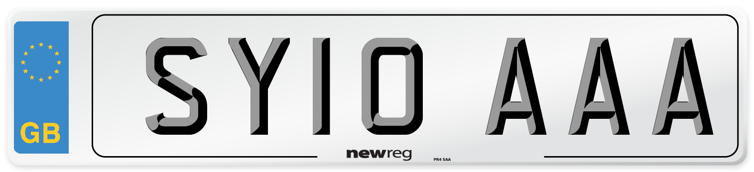 SY10 AAA Number Plate from New Reg