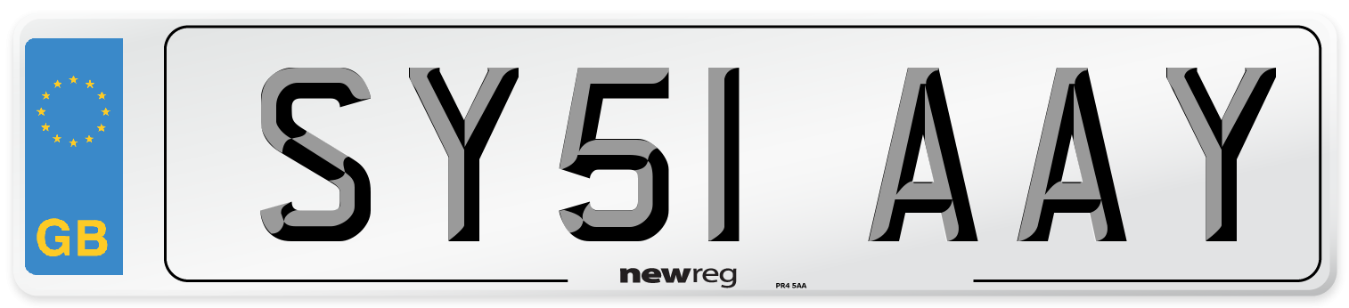 SY51 AAY Number Plate from New Reg
