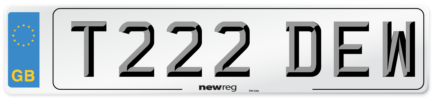 T222 DEW Number Plate from New Reg
