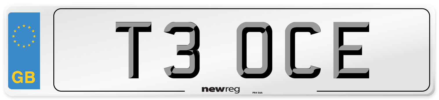 T3 OCE Number Plate from New Reg