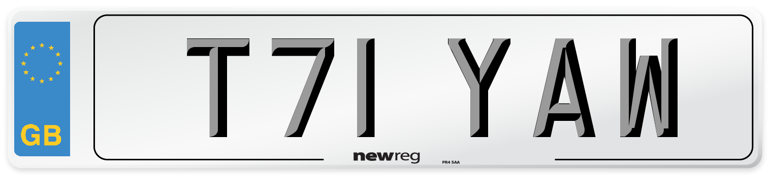 T71 YAW Number Plate from New Reg