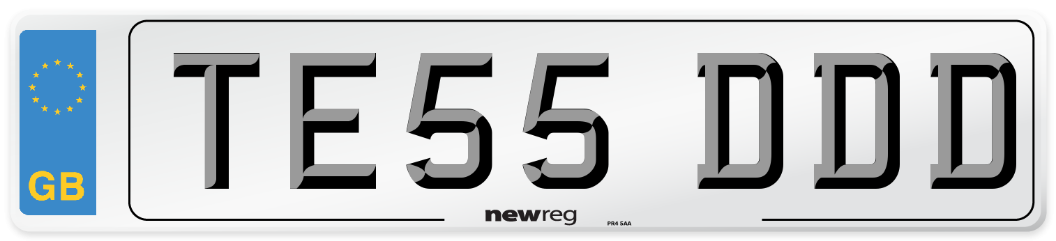 TE55 DDD Number Plate from New Reg