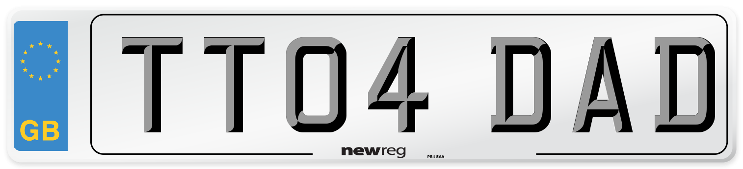 TT04 DAD Number Plate from New Reg