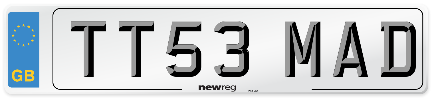 TT53 MAD Number Plate from New Reg