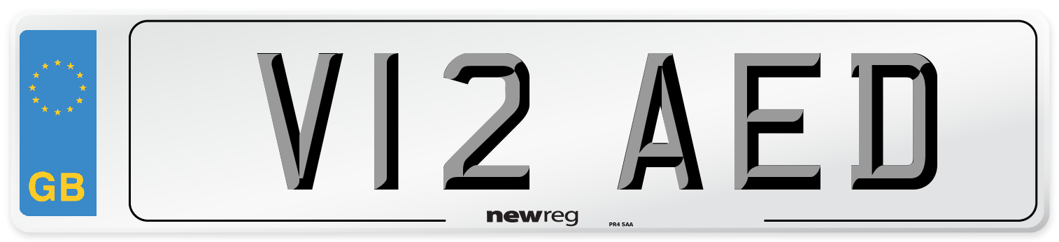 V12 AED Number Plate from New Reg