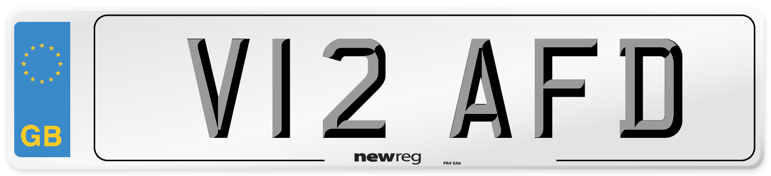 V12 AFD Number Plate from New Reg