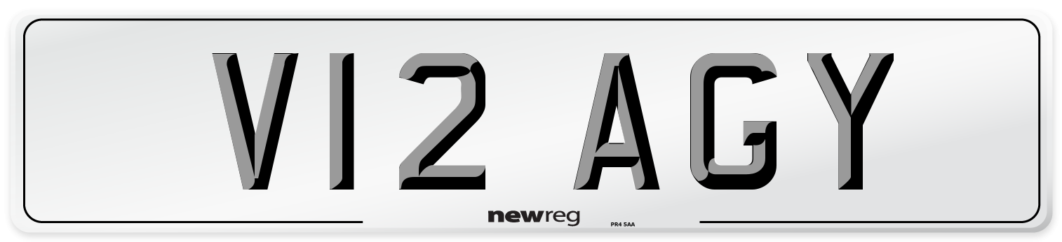 V12 AGY Number Plate from New Reg